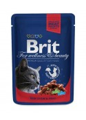 Brit Premium Wet Food Beef Stew & Peas for Adult Cats 80gm