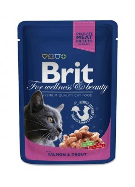 Brit Premium Wet Food Salmon & Trout for Adult Cats 80gm