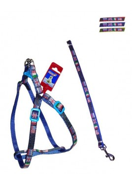 Fekrix 4 Flags Nylon Leash And Harness 10mm 48 inch 12-16 Inch