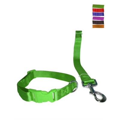 "Fekrix 1 Plain Nylon Collar And Leash For Dogs 15mm 48"" 16 Inch"