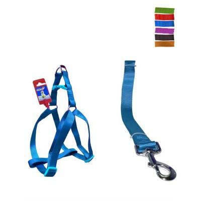 Fekrix 1 Plain Dog Leash And Harness 10mm 48 inch 12-16 Inch