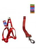 Fekrix 1 Plain Dog Leash And Harness 15mm 48 inch 16-24 Inch