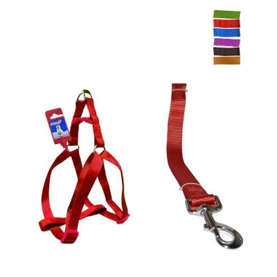 "Fekrix 1 Plain Dog Leash And Harness 15mm 48"" 16-24 Inch"