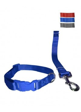 Fekrix 1 Thick Plain Nylon Leash & Collar For Dogs 25mm 48 inch 20 Inch