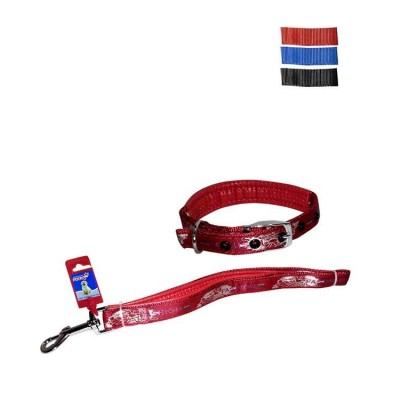 Fekrix Padded Map Nylon Collar And Leash For Dogs 25mm 48 inch 24 Inchs