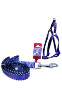 "Fekrix 2 White Line Leash And Harness 20mm 48"" 18-26 Inch"