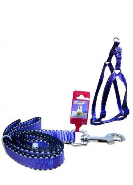 "Fekrix 2 White Line Leash And Harness 25mm 48"" 22-32 Inch"