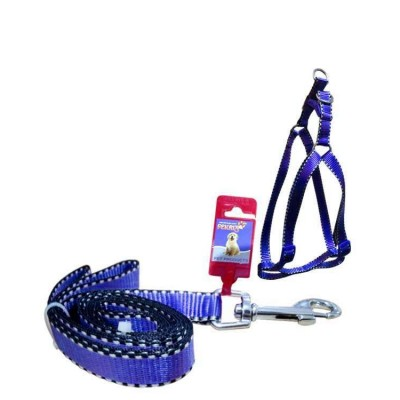 Fekrix 2 White Line Leash And Harness 25mm 48 inch 22-32 Inch