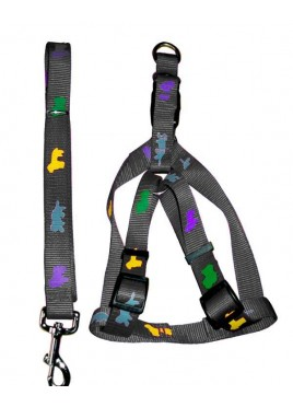 Fekrix Premium Print Leash With Collar Harness Black 1 Inch