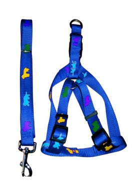 Fekrix Premium Print Leash With Collar Harness Blue 1 Inch