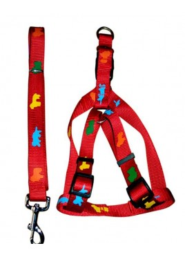 Fekrix Premium Print Leash With Collar Harness Red 1 Inch