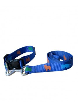 Fekrix Premium Print Leash with Collar Blue 1 Inch