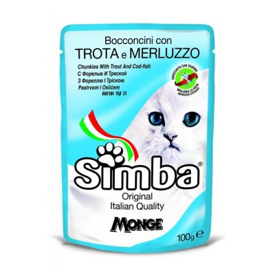 Simba Chunkies With Trout and Codfish Cat Wet Food 100 gm (Pack-6)