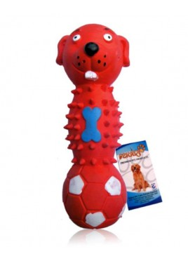 Fekrix Dog Face Dumbbell Red Squeak Pet Toy