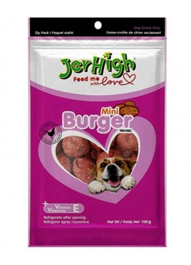 Jerhigh Mini Burger Flavor Dog Snack - 100g