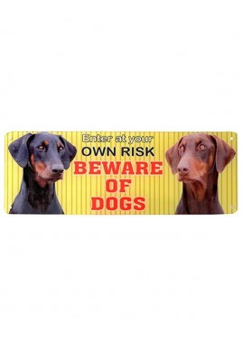 "Kennel Doggy Beware Of Dog Sign Plate 4""X12\"""