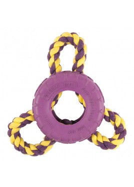 Pet Brands 3 Way Rope Rubber Tire Dog Toy