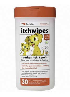 Petkin Pet Itch Wipes (30ct) for Cat And Dog