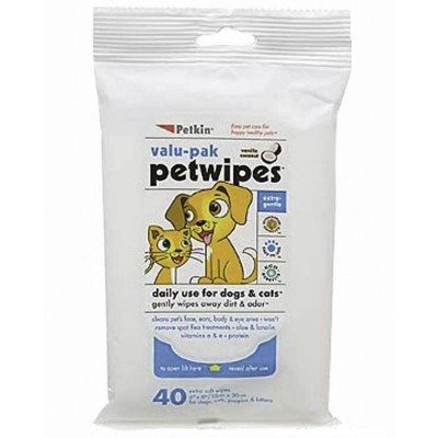 Petkin Pet Wipes Valu-Pak (40ct) for Dog and Cat