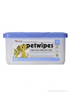 Petkin 100 Counts Pet Wipes For Dog And Cat