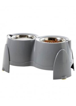 Savic Ergo Raised Dog Feeder (28 Cm) Non-Skid Cool Grey Bowls