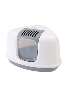 Savic Nestor Corner Cat Toilet (Gray & White)
