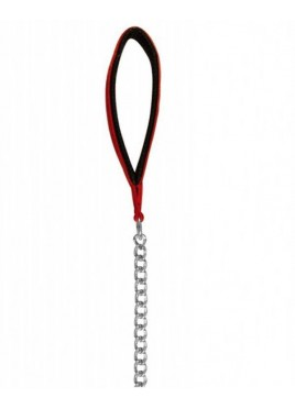 Trixie Chain Lead, Chromed with Nylon Hand Loop 3.60 ft/2.0mm red/black