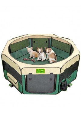 Union animal lifestyle Play Pen Green/Beige (WxH) - 20x32 Inches - 8 Pcs